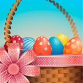 Composition with Easter eggs in a wicker basket against the sky Red bow with decorative ribbon