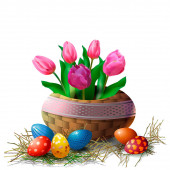 Wicker basket with tulips and Easter eggs on a white background Element for greeting card or banner for Easter