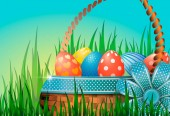 Postcard with Easter eggs in a wicker basket in green grass Blue bow with decorative ribbon