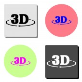 3D simple flat vector icon illustration on four different color backgrounds