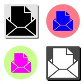 Opened envelope with letter simple flat vector icon illustration on four different color backgrounds