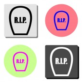 rip simple flat vector icon illustration on four different color backgrounds