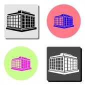 Commercial Office Building simple flat vector icon illustration on four different color backgrounds