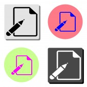 Paper And Pen simple flat vector icon illustration on four different color backgrounds