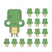 Vector set of 16 turtle characters emotions Animal collection