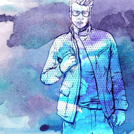 Illustration pour Fond d'aquarelle dessiné à la main avec l'illustration du gars élégant dans le style de croquis. Illustration vectorielle . - image libre de droit