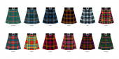 Images of kilts or skirts from different clan tartans Simplifie