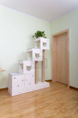 Photo for Wooden Cathouse indoors for domestic cats - Royalty Free Image