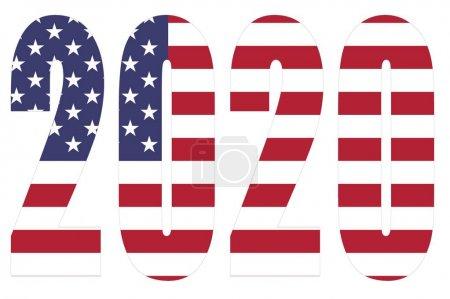 Photo pour Drapeau des États-Unis sur 2020 lettres avec fond isolé - image libre de droit