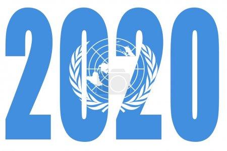 Photo pour Drapeau des Nations Unies sur 2020 lettres avec fond isolé - image libre de droit