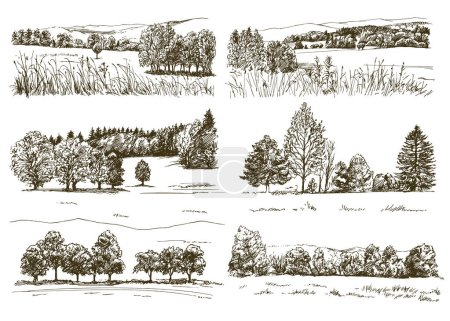 Illustration for Set of romantic landscapes. - Royalty Free Image