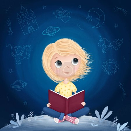 Photo for Little girl reading a book and dreaming. Raster illustration - Royalty Free Image