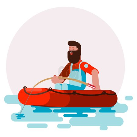 Man in boat caching a fish. Vector illustration, EPS 10
