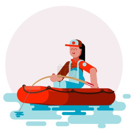 Woman in boat caching a fish