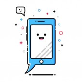 Mobile phone smartphone MBE style kawaii character icon sticker