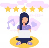 Girl listens and evaluates music and media