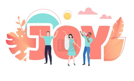 Illustration for Joy sign or poster with happy people on white background. Vector paper illustration in trendy living coral color, flat style. - Royalty Free Image