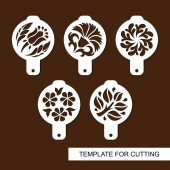 Set of coffee stencils For drawing picture on cappuccino macchiato and latte  Floral theme Silhouettes of flowers and leaves Template for laser cutting paper cut  and wood carving Vector