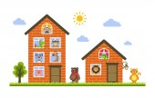 Two houses in which live animals: monkey crocodile cow dog giraffe bear cat lion iguana and pig Zoo theme Flat style Vector illustration for kids on a white background