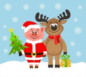 Pig in Santa Claus costume and funny reindeer Greeting card for Christmas or New Year on a blue background Cartoon characters with christmas tree and gift box  Flat style Vector image for kids