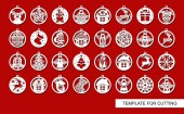 Big set of Christmas decorations - balls with a Santa Claus deer snowflake candle angel snowman gift sock Christmas tree house Template for laser cut New Year theme Vector illustration