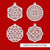 Set of hanging Christmas decorations Round carved patterns Lace stencils Template for laser cutting paper cut and printing Vector illustration
