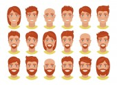Set of mens avatars with various hairstyles: long or short hair bald with beard or without Redhead guys Cartoon portraits isolated on white background Flat style Vector illustration