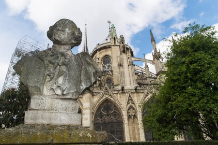 A statue outside Notre-Dame Cathedral in Paris, France