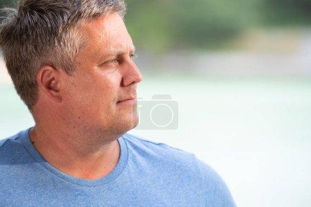 Handsome Caucasian man looking away