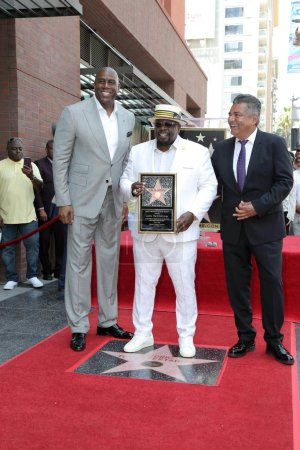 Photo for Magic Johnson, Cedric the Entertainer, George Lopez at the Cedric the Entertainer Star on the Hollywood Walk of Fame, Hollywood, CA 07-19-18 - Royalty Free Image