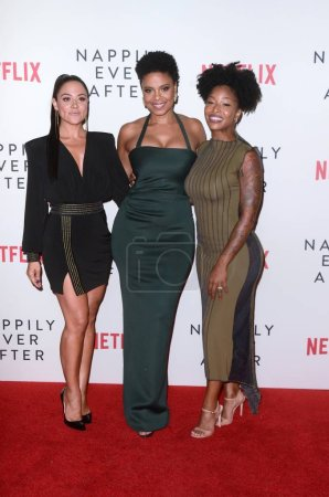 """Photo for Camille Guaty, Sanaa Lathan, Brittany S. Hall at the """"Nappily Ever After"""" Special Screening, Harmony Gold Theater, Los Angeles, CA 09-20-18Copyright DailyCeleb.com.  All Rights Reserved. - Royalty Free Image"""
