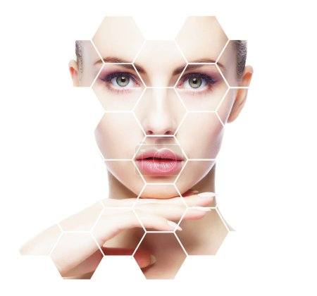 Portrait of young, healthy and beautiful woman plastic surgery, skin lifting, spa, cosmetics and medicine concept