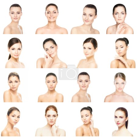 Collage of beautiful, healthy and young spa female portraits. Faces of different women. Face lifting, skincare, plastic surgery and make-up concept collection.