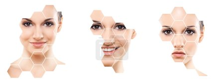 Human face in a collage. Young and healthy woman in plastic surgery, medicine, spa and face lifting concept in honeycomb mosaic.