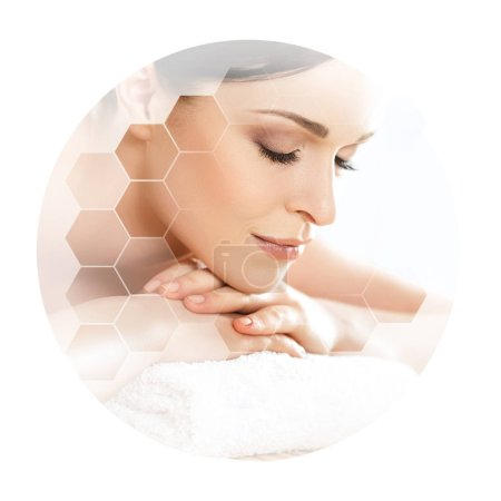Young and beautiful woman in spa. Collage with honeycomb mosaic tiles. Healing and massaging concept.