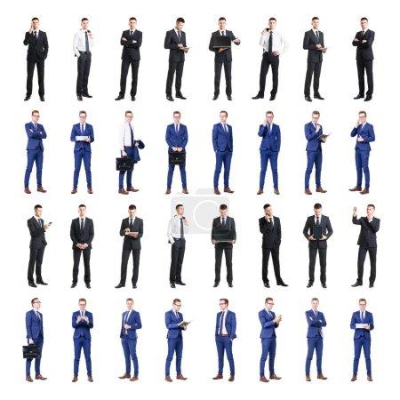 Photo pour Ensemble de gens d'affaires isolés sur blanc. Collage de l'homme d'affaires. - image libre de droit