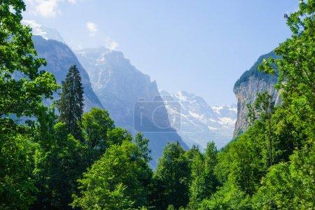 Alpine peaks landscape background. Lauterbrunnen, Jungfrau, Bernese highland. Alps, tourism journey hiking concept