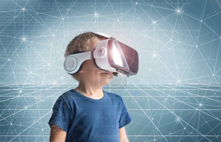 Photo for Portrait of happy kid in a virtual reality headset. Attractive kid using vr goggles over abstract background. Entertainment technology, futuristic gadgets and generation Z concept. - Royalty Free Image