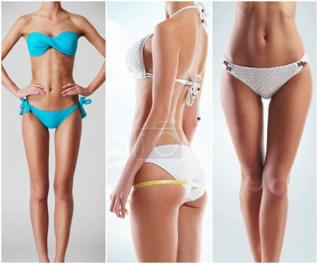 Photo for Fit, young and beautiful female body. Fat lose, health, sport, fitness, nutrition, liposuction, healthy life-style concept. Woman in a fitness workout collection. - Royalty Free Image