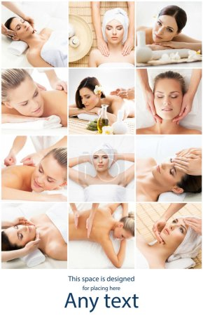 Photo for Women having different types of massage. Spa, wellness, health care and aroma therapy collage. Health, recreation and massaging therapy concept. - Royalty Free Image