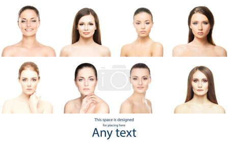 Photo for Beautiful, pure and healthy female faces. Portrait of young women in collage. Lifting, skincare, plastic surgery and make-up concept collection - Royalty Free Image