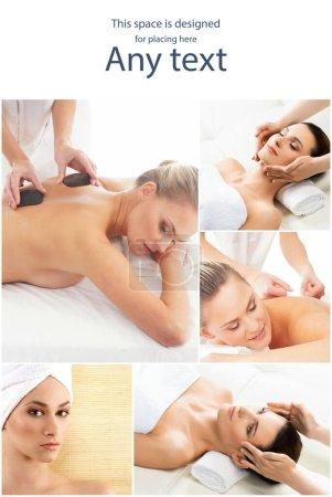 Photo pour Une femme se fait soigner. Différentes photos de femmes se relaxant dans le spa. Concept de thérapie de santé, de loisirs et de massage . - image libre de droit