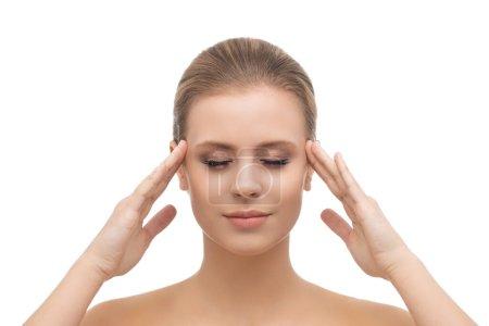 Photo pour Face of a beautiful girl. Plastic surgery, skin lifting, spa, cosmetics and medicine concept. - image libre de droit