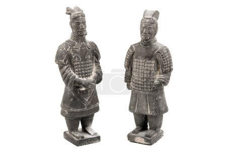 Terracotta Xian officer and soldier. Isolated on a white background