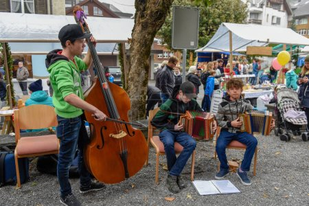 Engelberg, Switzerland - 29 September 2018: Traditional music group at Engelberg on the Swiss alps