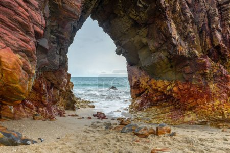 Photo for The natural arch on the beach of Jericoacoara in Brazil - Royalty Free Image