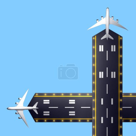 two runways with passenger aircraft top view