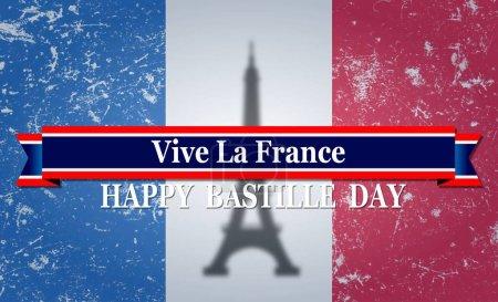 Photo pour Illustration d'une bannière du 14 juillet. Joyeuse fête de la Bastille. Texte Espace Contexte . - image libre de droit