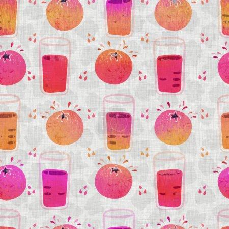 Fruta sin costuras collage textura tejida. Damasco grunge dibujado a mano sobre fondo textil de tela de lino. Estilo de efecto de color de tinte de ombre lavado. Muestra artística pintada a mano angustiada. Decoración del hogar Boho
