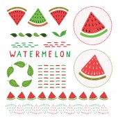 Cute watermelon vector illustration clipart set Hand drawn kawaii dotty melon